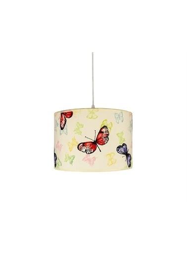 Şenay Aydınlatma Silindir Kumaş Sarkıt Avize-Beyaz Kelebek Renkli